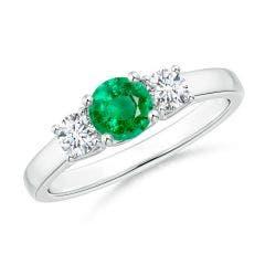 Classic Round Emerald and Diamond Three Stone Ring