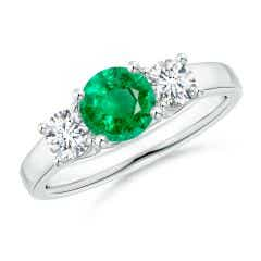 Classic Round Emerald and Diamond Three Stone Ring
