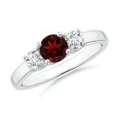 Classic Round Garnet and Diamond Three Stone Ring