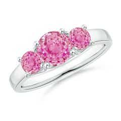Classic Round Pink Sapphire Three Stone Ring