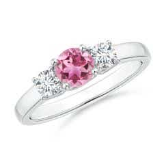 Classic Round Pink Tourmaline and Diamond Three Stone Ring