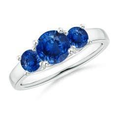 Classic Round Sapphire Three Stone Ring