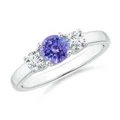 Classic Round Tanzanite and Diamond Three Stone Ring
