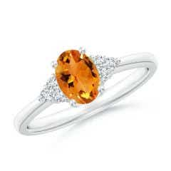 Solitaire Oval Citrine Ring with Trio Diamond Accents