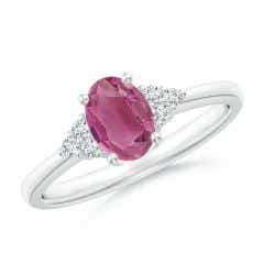 Solitaire Oval Pink Tourmaline Ring with Trio Diamond Accents