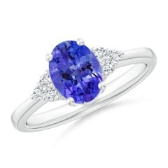 Solitaire Oval Tanzanite and Diamond Promise Ring