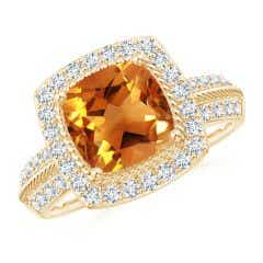 Twisted Rope Cushion Citrine Halo Ring