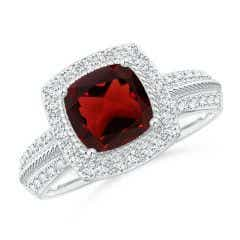Twisted Rope Cushion Garnet Halo Ring