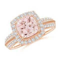 Twisted Rope Cushion Morganite Halo Ring