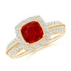 Twisted Rope Cushion Ruby Halo Ring