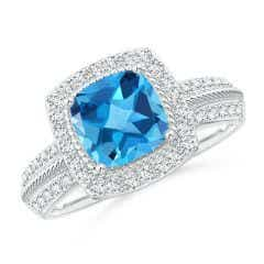 Twisted Rope Cushion Swiss Blue Topaz Halo Ring