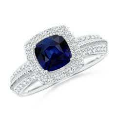 Twisted Rope Cushion Sapphire Halo Ring