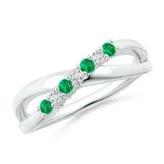 Round Emerald and Diamond Crossover Ring