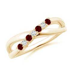 Round Ruby and Diamond Crossover Ring