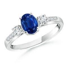 Classic Oval Blue Sapphire and Round Diamond Three Stone Ring