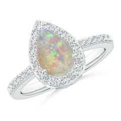 Pear Opal Ring with Diamond Halo