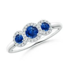 Round Sapphire Three Stone Halo Ring with Diamonds