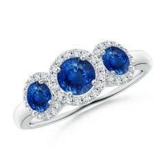 Round Sapphire Three Stone Halo Ring with Diamonds