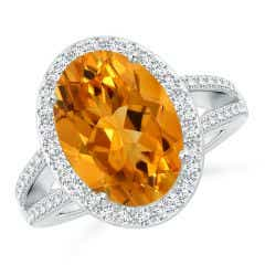 GIA Certified Oval Citrine Split Shank Halo Ring - 4.74 CT TW