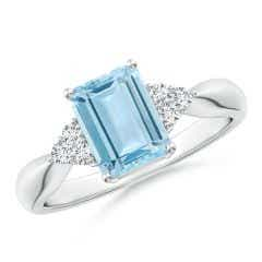 Emerald-Cut Aquamarine Ring with Trio Diamonds