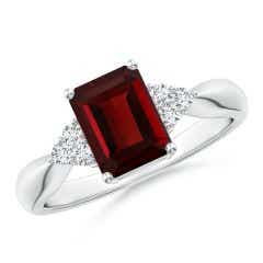 Emerald-Cut Garnet Ring with Trio Diamonds