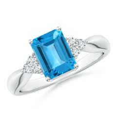 Emerald-Cut Swiss Blue Topaz Ring with Trio Diamonds