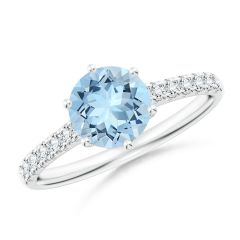 Aquamarine Solitaire Ring with Diamond Accents