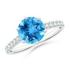 Swiss Blue Topaz Solitaire Ring with Diamond Accents