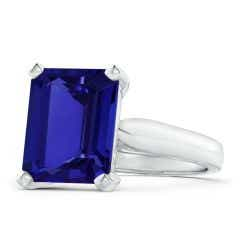 Solitaire GIA Certified Emerald-Cut Tanzanite Cocktail Ring