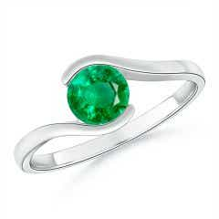 Semi Bezel-Set Solitaire Round Emerald Bypass Ring