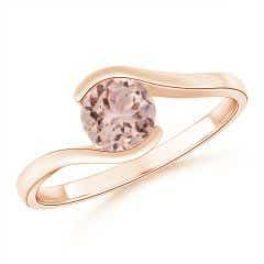 Semi Bezel-Set Solitaire Round Morganite Bypass Ring