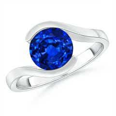 Semi Bezel-Set Solitaire Round Blue Sapphire Bypass Ring
