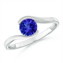 Semi Bezel-Set Solitaire Round Tanzanite Bypass Ring