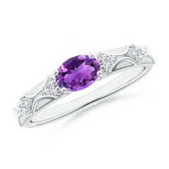 Oval Amethyst Vintage Style Ring with Diamond Accents