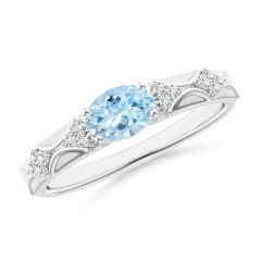 Oval Aquamarine Vintage Style Ring with Diamond Accents