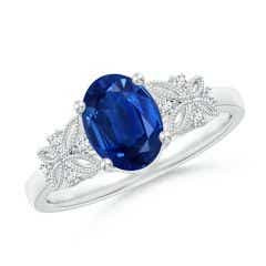 Vintage Style Oval Sapphire Ring with Diamonds