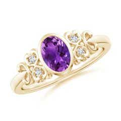Vintage Style Bezel-Set Oval Amethyst Ring with Diamonds