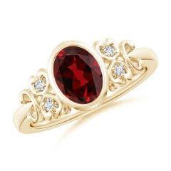Vintage Style Bezel-Set Oval Garnet Ring with Diamonds