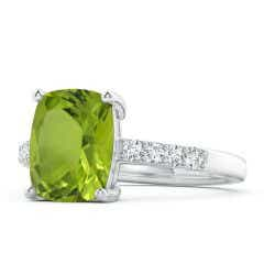 Classic GIA Certified Rectangular Cushion Peridot Ring