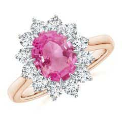 Claw-Set Oval Pink Sapphire Floral Halo Ring