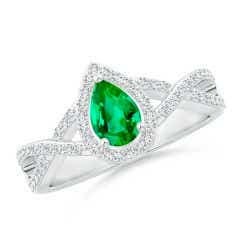 Twist Shank Pear Emerald Ring with Diamond Halo