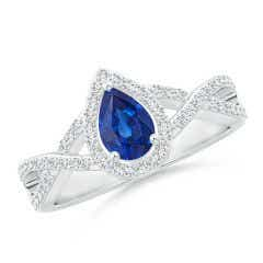 Twist Shank Pear Blue Sapphire Ring with Diamond Halo