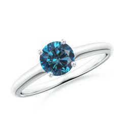 Round Enhanced Blue Diamond Solitaire Engagement Ring