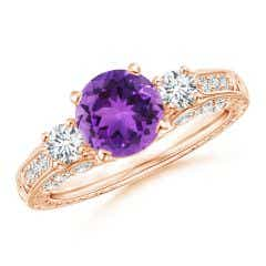 Three Stone Round Amethyst and Diamond Ring