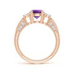 Toggle Three Stone Round Amethyst and Diamond Ring