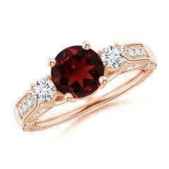 Three Stone Round Garnet and Diamond Ring