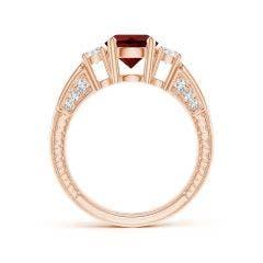 Toggle Three Stone Round Garnet and Diamond Ring