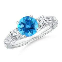 Three Stone Round Swiss Blue Topaz and Diamond Ring