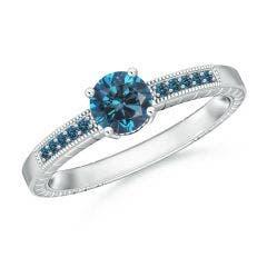 Round Enhanced Blue Diamond Solitaire Ring with Milgrain
