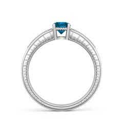 Toggle Round Enhanced Blue Diamond Solitaire Ring with Milgrain